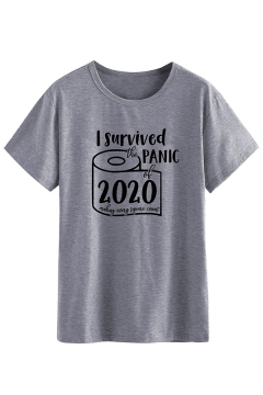 Trendy Guys Letter I Survived Panic Toilet Paper Graphic Short Sleeve Round Neck Loose T-shirt in Dark Gray