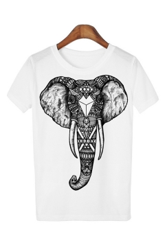 Basic Mens Elephant Printed Short Sleeve Round Neck Relaxed T Shirt
