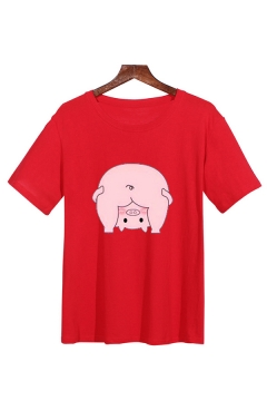 Lovely Cartoon Pig Pattern Short Sleeve Crew Neck Loose Fit T-shirt for Men