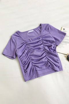 Novelty Solid Color Pleated Tiered Square Neck Short Sleeve Slim Fit Crop Tee Top for Womens