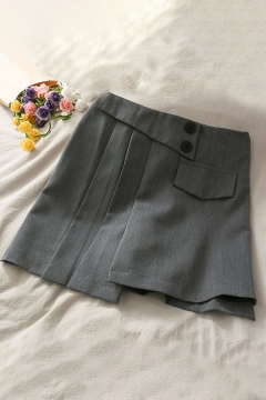 Trendy Womens Solid Color Flap Pocket Pleated Button Detail Patchwork Asymmetric High Rise Short A-Line Skirt
