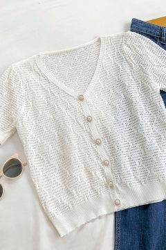 Vintage Solid Color Cut Out Pearl Button Down V Neck Short Sleeve Regular Fit Crop Top for Girls