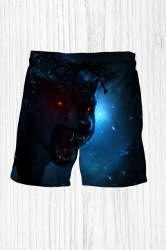 Simple 3D Relax Shorts Animal Wolf Lightning Pattern Drawstring Above the Knee Fitted Mid Rise Relax Shorts for Men
