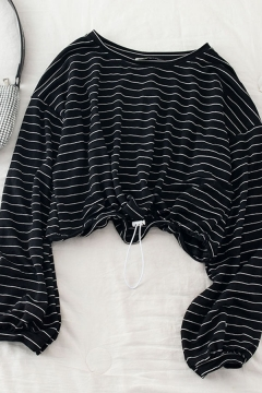 Unique Womens Striped Drawstring Long Sleeve Round Neck Slim Fit Crop Tee Top