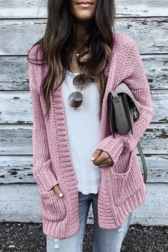 Fashion Style Open Front, Pink Sweaters & Cardigans