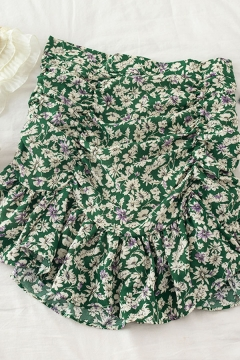 Vintage Womens Ditsy Floral Printed Ruched Ruffle Trim High Waist Short A Line Skirt