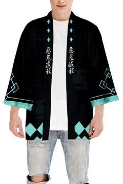 Harajuku Guys Chinese Letter Rhombus Graphic Long Sleeve Open Front Relaxed Fit Black Kimono
