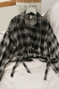Cool Girls Plaid Checker Drawstring Pleated Button Up Turn Down Collar Long Sleeve Slim Fit Crop Blouse