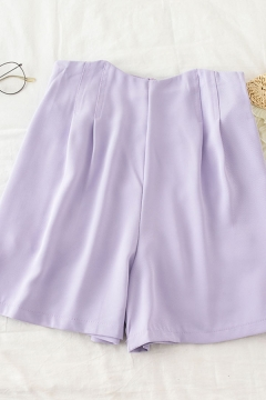Simple Summer Womens Solid Color Pleated Zip Back High Rise Wide Leg A-Line Shorts