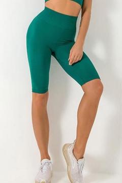 Fashion Womens Solid Color High Waist Hip Lift Knee Length Skinny Fitness Sports Yoga Shorts