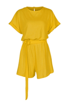 Retro Womens Rompers Plain Keyhole-Back Round Neck Loose Fitted Short Bat-Wing Sleeve Rompers with Belt
