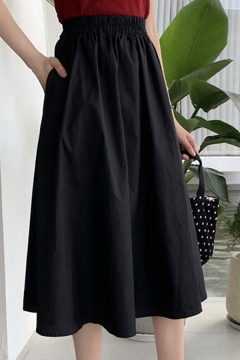 Leisure Solid Color Elastic Waist Mid Pleated A-line Skirt for Women