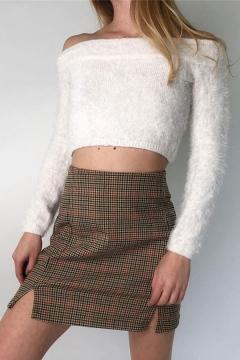 Novelty Womens Khaki Skirt Plaid Pattern Slit Detail Short High Waist Bodycon Skirt