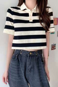 Womens Trendy Stripe Patterned Short Sleeve Spread Collar Button Up Cut Out Back Knit Relaxed Crop Polo Shirt
