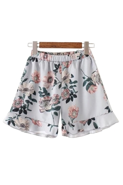 Womens Shorts Chic Flower Leaf Pattern Ruffle Hem Loose Fitted Elastic Waist Relaxed Shorts
