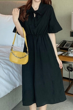 Chic Ladies Plain Bell Sleeve Bow Tied Neck Mid A-line Dress