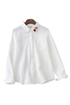 Simple Ladies Heart Embroidered Long Sleeve Turn Down Collar Button Up Chest Pocket Relaxed Fit Shirt Top in White