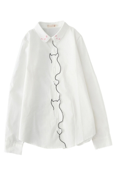 Casual Girls White Cat Embroidered Long Sleeve Turn Down Collar Button Up Curved Hme Loose Shirt Top