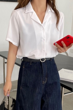 Simple Womens Solid Color Short Sleeve Lapel Neck Button Up Relaxed Shirt Top