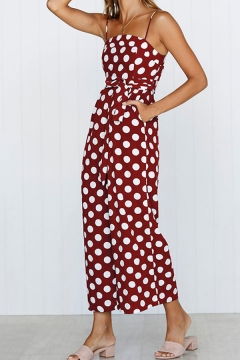 Womens Jumpsuits Simple Polka Dot Printed Bow-Knot Waist Wide Leg Spaghetti Strap Regular Fitted Sleeveless Cropped Jumpsuits