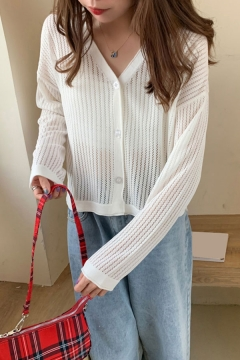 Basic Womens Solid Color Open Knitted Long Sleeve V-neck Button Up Relaxed Fit Cardigan