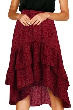 Creative Womens Skirt Dot Printed Layered Ruffle Asymmetric Hem Midi A-Line High Waist Swing Skirt