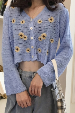 Unique Womens Daisy Embroidery Single Breasted V-Neck Long Sleeve Relaxed Cropped Knit Cardigan Pointelle Sweater
