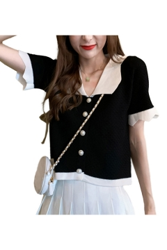 Chic Womens Contrast Trim Button Up Turn-down Collar Short Sleeve Slim Fit Cropped Knit Cardigan