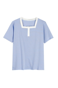 Pretty Ladies Stripe Printed Contrasted Short Sleeve Square Neck Button Up Regular Fit T Shirt