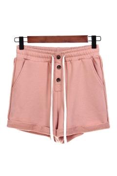 Womens Shorts Creative Plain Button Detail Roll-up Drawstring Waist Regular Fitted Sweat Shorts