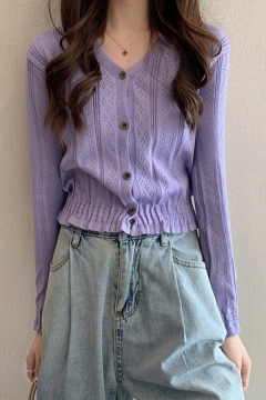 Pretty Womens Plain Single Breasted Elastic Hem V-Neck Long Sleeve Fitted Cropped Hollow Out Knit Cardigan