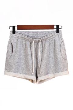 Cool Womens Shorts Rolled Cuffs Wide Leg Drawstring Waist Regular Fitted Sweat Shorts