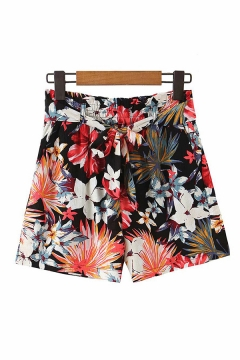 Womens Shorts Simple Leaf Flower Printed Tie Detail Loose Fitted Relaxed Shorts