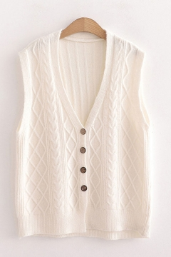 Camii Mia Womens Solid Knit Classic V Neck Sleeveless Pullover Sweater Vest