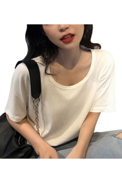 Leisure Womens Solid Color Short Sleeve Scoop Neck Relaxed Fit T Shirt