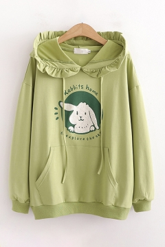 Popular Womens Green Rabbit Letter Pattern Stringy Selvedge Pocket Long Sleeve Drawstring Relaxed Fitted Hooded Sweatshirt