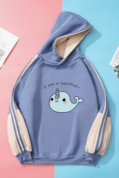 Cute Womens Cartoon Whale Letter Printed Long Sleeve Tape Pullover Relaxed Fitted Graphic Hoodie