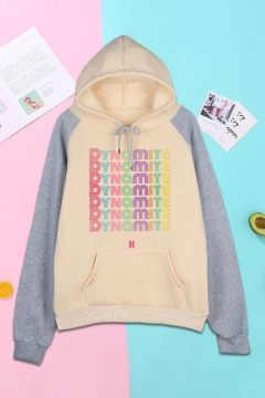 Cool Letter Pattern Colorblock Drawstring Pocket Long Sleeve Pullover Raglan Regular Fitted Hoodie for Ladies