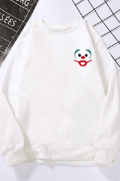 Basic Girls Cartoon Face Pattern Long Sleeve Pullover Round Neck Long Sleeve Regular Fitted Hoodie