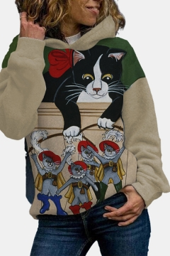 Casual Girls Colorblock Cat Pattern Long Sleeve Pullover Regular Fitted Hooded Sweatshirt in Beige