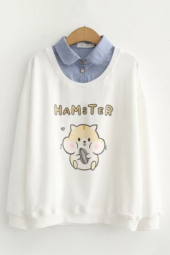 Chic Ladys Mouse Letter Printed Long Sleeve Turn down Collar Pullover Regular Fitted Fake Two Piece Hoodie