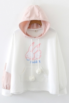 Fashion Colorblock Rabbit Letter Printed Long Sleeve Drawstring Pocket Pullover Relaxed Fitted Hoodie for Girls