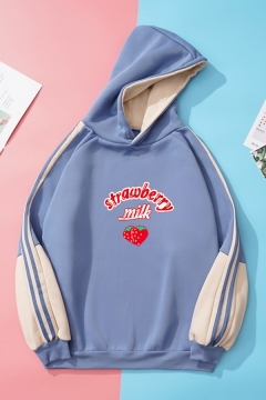 Popular Womens Strawberry Letter Printed Tape Pullover Long Sleeve Relaxed Fit Graphic Hooded Sweatshirt