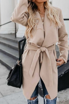 Fancy Solid Color Belted Long Sleeve Relaxed Fitted Trench Coat for Ladies
