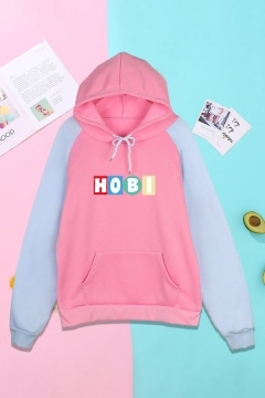 Fashionable Letter Printed Long Sleeve Drawstring Pocket Pullover Raglan Regular Fitted Hoodie for Women