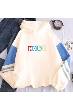 Basic Ladies Colorblock Letter Printed Drawstring Long Sleeve Pullover Relaxed Fitted Hooded Sweatshirt
