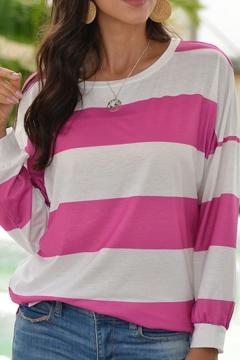 Vigorous Womens T Shirt Horizontal Stripe Pleated Cuff Slit Side Round Neck Long Sleeve Loose Tee