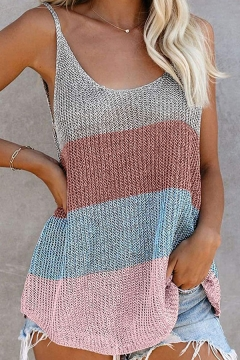 Fancy Women's Tank Top Color Block Scoop Neck Regular Fitted Knitted Cami Top