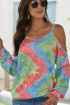 Casual Womens Tee Shirt Color-Blocking Cold Shoulder Full Sleeve Round Neck Strap T Shirt