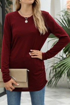Womens Basic Tee Shirt Plain Ruched-Side Full Sleeve Round Neck Fitted T Shirt